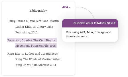 cite using APA, MLA, Chicago and more